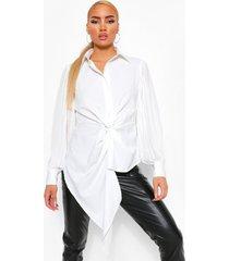 geweven geplooide gedraaide blouse, white