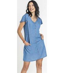 vestido corto botones azul curvi