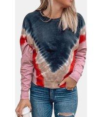 camicetta o-collo manica lunga stampata per donna