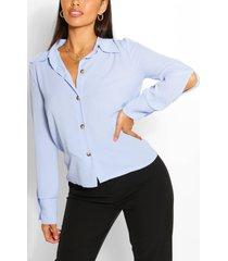 blouse met mouwsplit en kraag, light blue