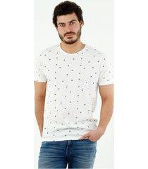 camiseta de hombre, cuello redondo, manga corta, con estampado de palmeras