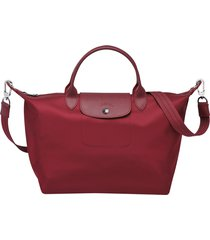 longchamp le pliage neo nylon red handbag with shoulder strap
