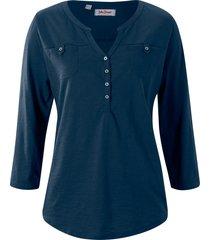 maglia serafino in cotone biologico con maniche a 3/4 (blu) - john baner jeanswear