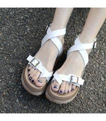sandalias de verano con suela gruesa británica para mujeres con hebilla