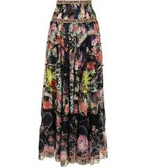 camilla floral-print silk maxi skirt - black
