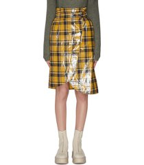 coated twill midi skirt