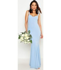 fitted fishtail maxi bridesmaid dress, cornflower blue