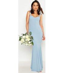 fitted fishtail maxi bridesmaid dress, cornflower blue