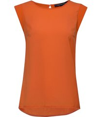 abena light cap sleeve top t-shirts & tops sleeveless orange french connection