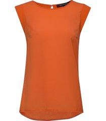 abena light cap sleeve top t-shirts & tops sleeveless orange french connection