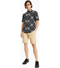 hugo hugo boss men's ermino slim-fit geo-print shirt