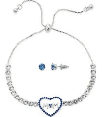 fine silver plate cubic zirconia adjustable bolo mom in heart bracelet and stud earring set