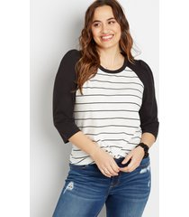 maurices plus size womens 24/7 black stripe puff sleeve baseball tee white