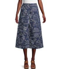 kenzo women's print cropped wide-leg pants - duck blue - size 34 (2)