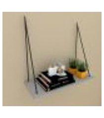 nicho prateleira moderna com cordas, 25x60 cm mdf cinza