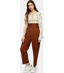 brown high waist belted peg pants - tobacco