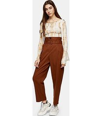 brown high waist belted peg trousers - tobacco
