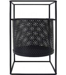 kwietnik metalowy osłonka na stojaku czarny 45 cm
