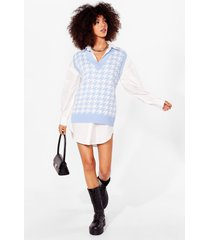 womens nowhere to be houndstooth knitted vest top - blue