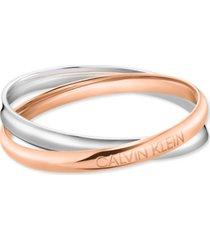 calvin klein interlocking logo bangle bracelet in stainless steel & rose gold-tone pvd