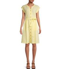 calvin klein women's dolman-sleeve striped seersucker dress - popcorn - size 6