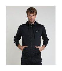 jaqueta masculina esportiva ace com capuz e faixa lateral preta