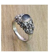 men's moonstone solitaire ring, 'goodness' (indonesia)