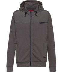 hugo men's donley zip up hoodie with hu93 logo on chest