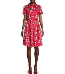 conversational printed tie-belt shirtdress