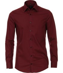 venti heren overhemd effen bordeaux kent poplin body fit