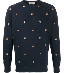 maison kitsuné all-over fox-embroidered sweatshirt - blue
