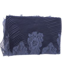 valentino blue scarfe with lace insert