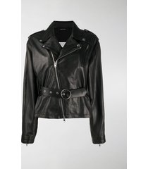 maison margiela belted biker jacket