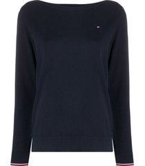 tommy hilfiger boat-neck sweatshirt - blue