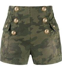 balmain camouflage high-waisted shorts - green