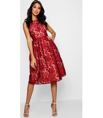 boutique embroidered skater bridesmaid dress, berry