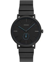 uri minkoff norrebro men's black stainless steel bracelet watch 40mm