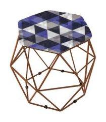 puff aramado bronze assento hexagonal suede triângulo roxo - ds móveis