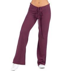 women's waffle fabric drawstring lounge pants