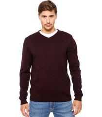 sweater jack & jones básico cuello v burdeo - calce regular