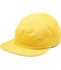 supreme fitted rear patch camp cap - yellow