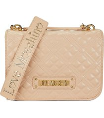 love moschino women's quilted crossbody bag - beige