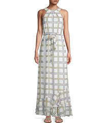 self-tie grid-print maxi dress