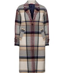 d1. checked wool blend overcoat wollen jas lange jas beige gant