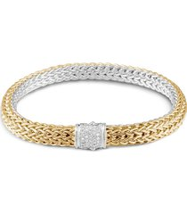'classic chain' diamond 18k gold silver bracelet