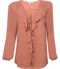 blusa dudalina manga longa decote v babados feminina (rosa medio, 44)