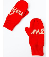 you & me mittens - red