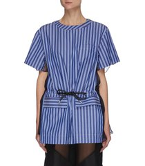 back chiffon panel drawstring stripe cotton top