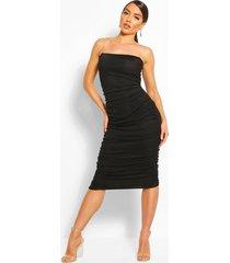 clear strap ruched mesh midi dress, black