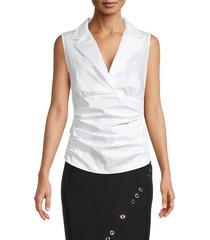 donna karan new york women's notch collar tank - ivory - size xs